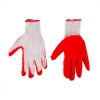 Working gloves, cotton knitted fabric; red rubber coated