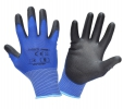 "Gloves pu blue-black l231007p, card, ""7"", ce, lahti"