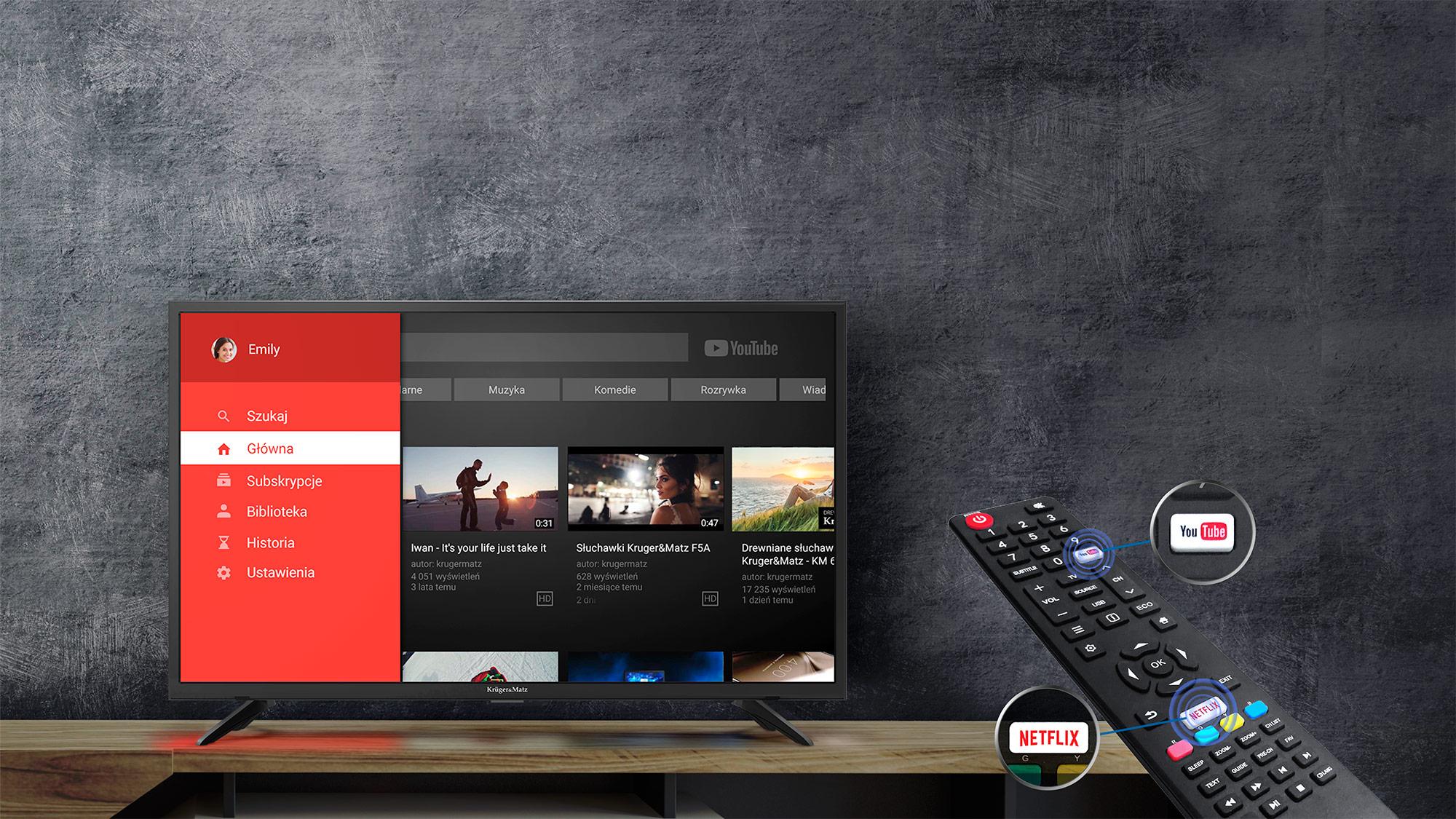 Czy często odnosisz wrażenie, ze cyfrowa telewizja nie spełnia Twoich oczekiwań? Telewizor Kruger&Matz, oferuje Ci więcej! Dzięki wbudowanemu modemowi Wi-Fi i portowi RJ-45 z łatwością podłączysz go do sieci, uzyskując dostęp do przeglądarki internetowej, Youtube i wypożyczalni Netflix. Przed Tobą nieograniczone możliwości!